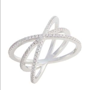 Cubic Zirconia criss-cross ring NEW size 6
